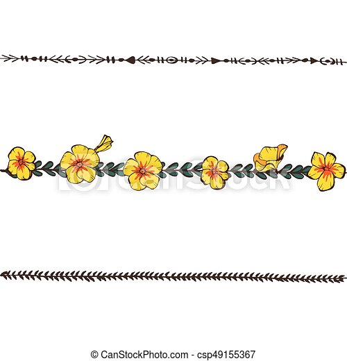 Doodle Floral Line With Yellow Pansy Flower Design Elements Floral