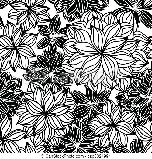 Doodle Floral Seamless Pattern - csp5024994