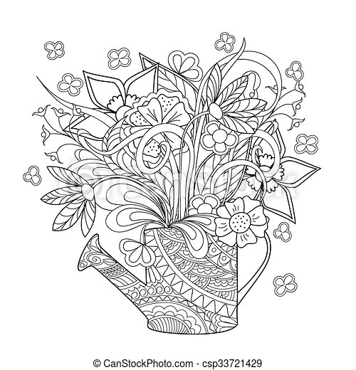 doodle flowers and herb - csp33721429