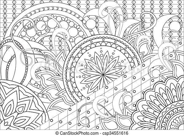 Hand Drawn Decorated Image With Doodle Flowers And Mandalas Zentangle Style Henna Paisley Mehndi For Adults Coloring Page Vector