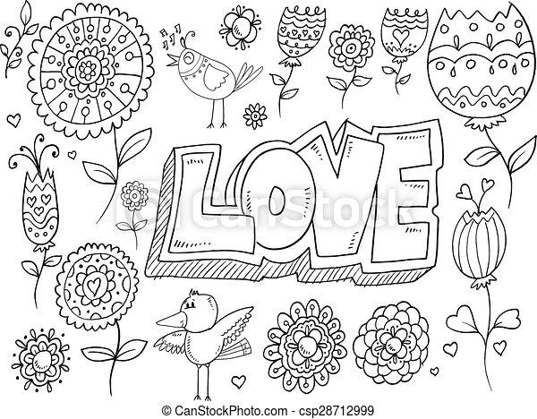 Doodle Flowers Bird Vector Set - csp28712999