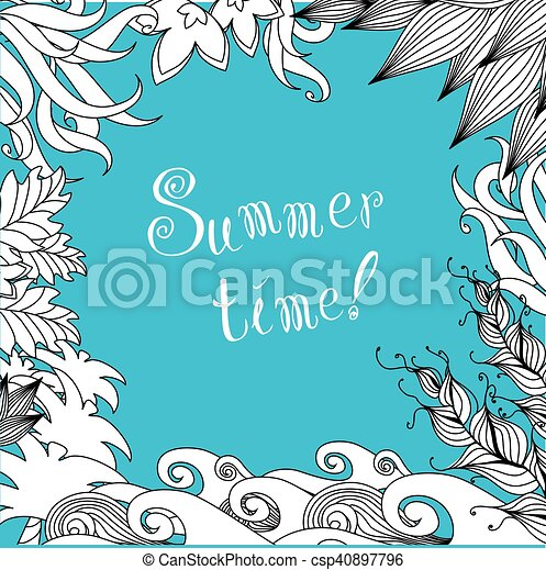 Doodle flowers frame for your greeting card - csp40897796
