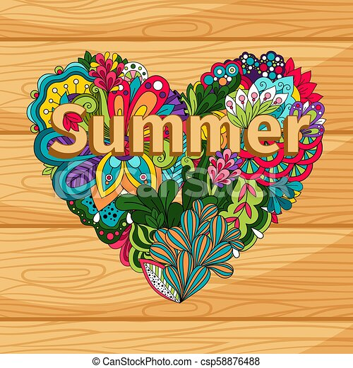 Doodle flowers heart on wood background - csp58876488
