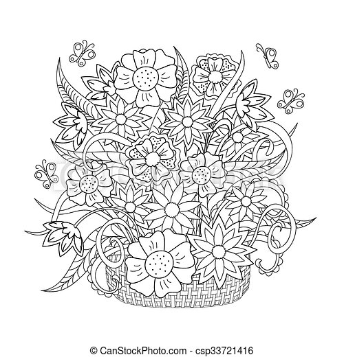 doodle flowers, herb and butterfly - csp33721416