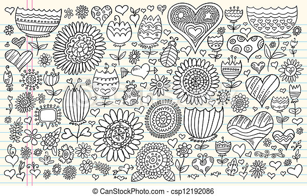 Doodle Flowers Spring Vector Set - csp12192086