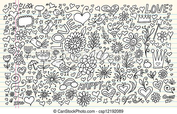 Doodle Flowers Spring Vector Set - csp12192089