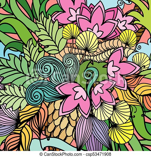 Doodle flowers, waves, nature. Background for your greeting card, wallpaper - csp53471908