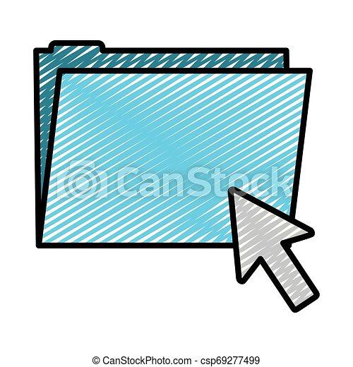 doodle folder file with arrow cursor mouse - csp69277499