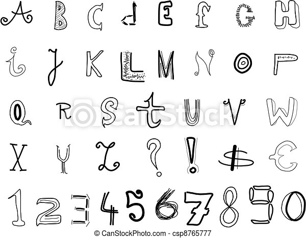 Doodle font hand written alphabet various doodle letters isolated doodle font csp8765777 thecheapjerseys Gallery