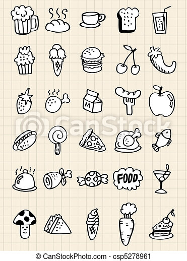 doodle food drink,hand draw  - csp5278961