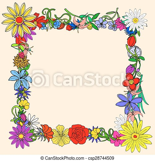 Doodle frame elements with flowers - csp28744509