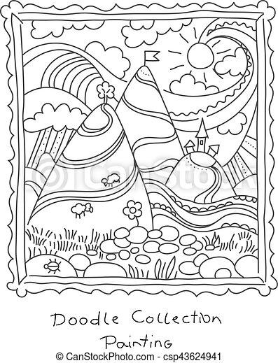 Nieuw Doodle, frame, schilderij, tekening. Frame., doodle, wei CW-51
