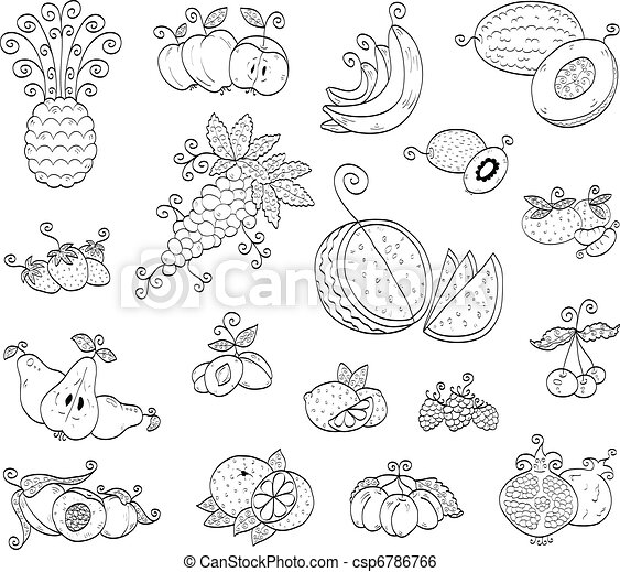 Doodle fruits, berries - csp6786766