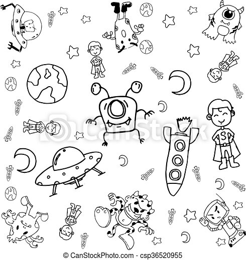 Doodle Galaxy A Funny With Black And White Backgrounds