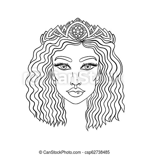 Doodle girls face. Womens portrait for adult coloring book. Vector  illustration.