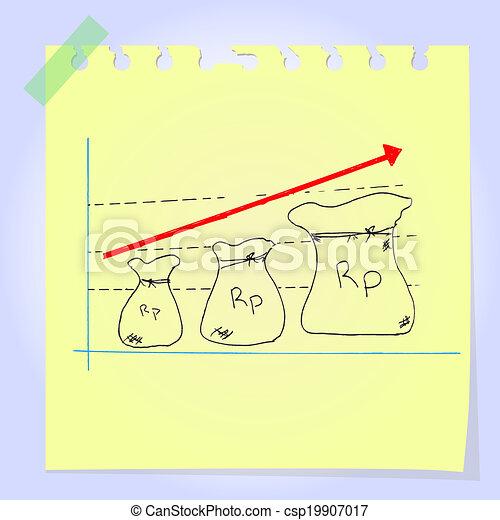 doodle, graficzny, rupiah, dochód - csp19907017