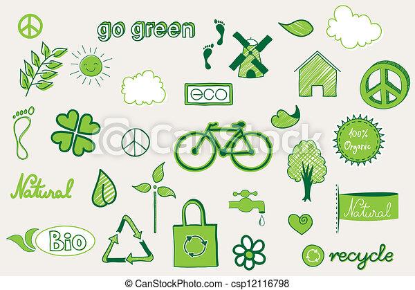 doodle, groene - csp12116798