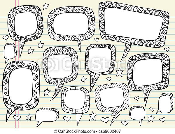 Doodle Groovy Speech bubble set - csp9002407