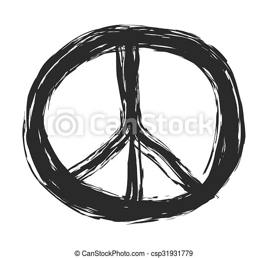 doodle grunge peace sign, vector - csp31931779