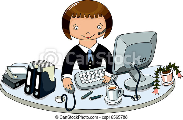 Doodle Hand Draw Of Business Woman In Office Vector Illustration