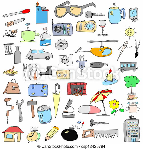 doodle hand drawn color objects - csp12425794