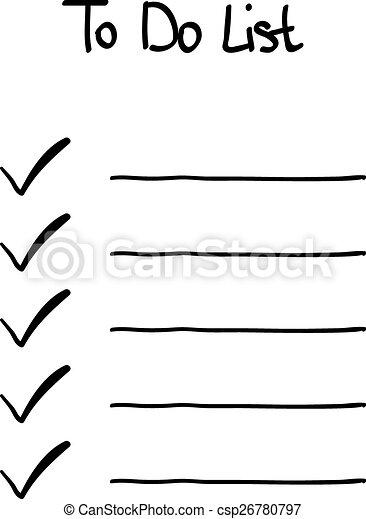 doodle, hand-drawn, lista de verificação - csp26780797