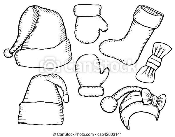 Christmas Boots Drawing.Doodle Hats Santa Claus