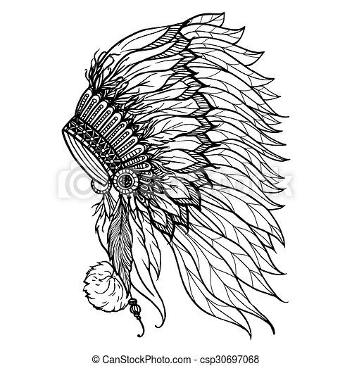 d6bd611bc Doodle headdress for indian chief. Doodle headdress for native ...