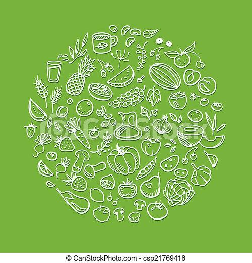 doodle healthy food icons - csp21769418
