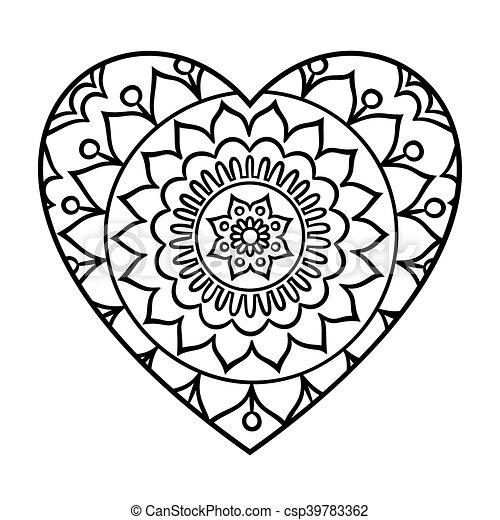 Valentijn Kleurplaat Paarden Doodle Heart Mandala Doodle Heart Mandala Coloring Page