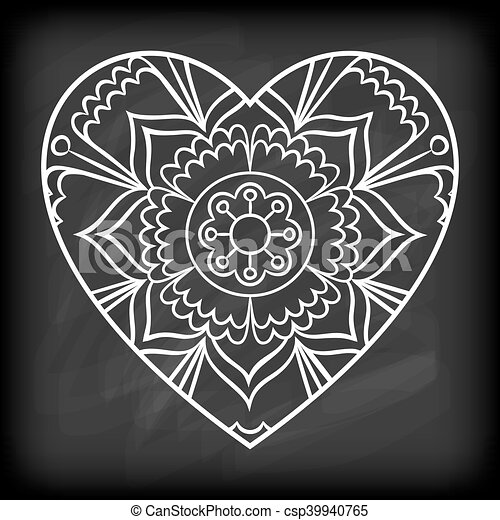 doodle heart mandala doodle heart mandala on chalkboard outline