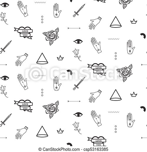 doodle hipster flash tattoo style seamless vector pattern simple