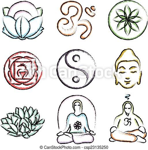 Doodle Icons Of Yoga Vector Set Of Yoga Icons Buddhism