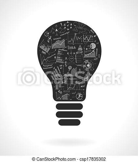 Doodle idea lightbulb icon with infographics charts - csp17835302