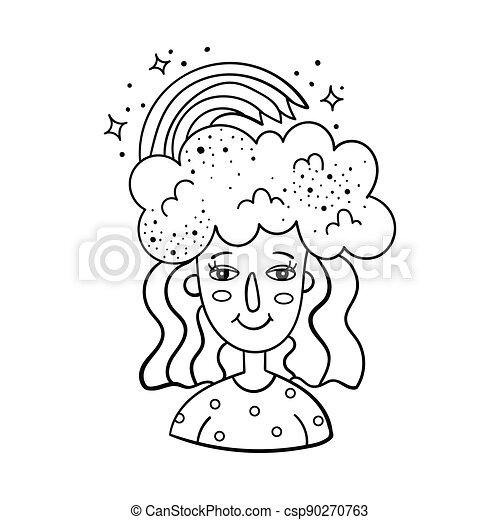 Doodle illustration of a magical girl with clouds and a rainbow on her head. Cartoon illustration. - csp90270763
