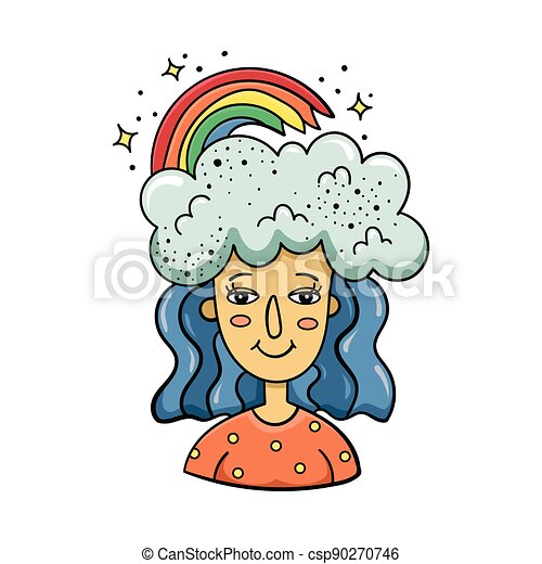 Doodle illustration of a magical girl with clouds and a rainbow on her head. Cartoon illustration. - csp90270746