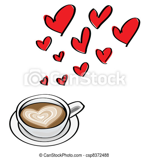 doodle illustrations of valentine dating concepts, with heart shaped latte. - csp8372488
