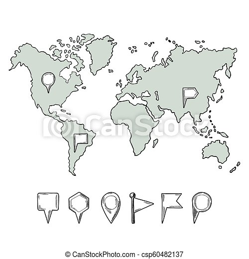 Doodle illustrations of world map with hand drawn pins. Vector pictures  isolate