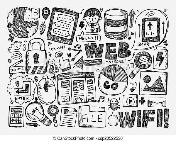 doodle internet background - csp20522530