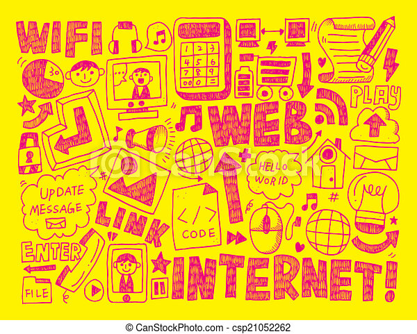 doodle internet web background - csp21052262