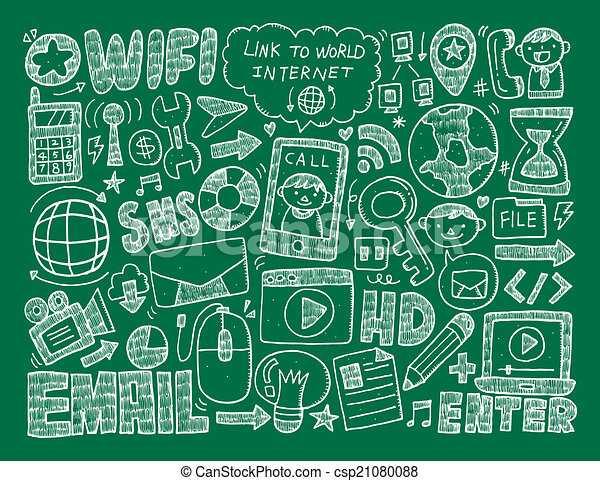 doodle internet web background - csp21080088