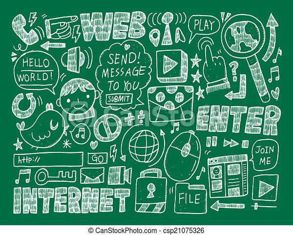 doodle internet web background - csp21075326