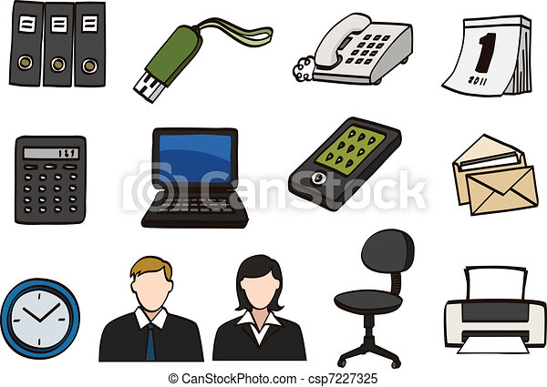 doodle, jogo, escritório, ícone - csp7227325