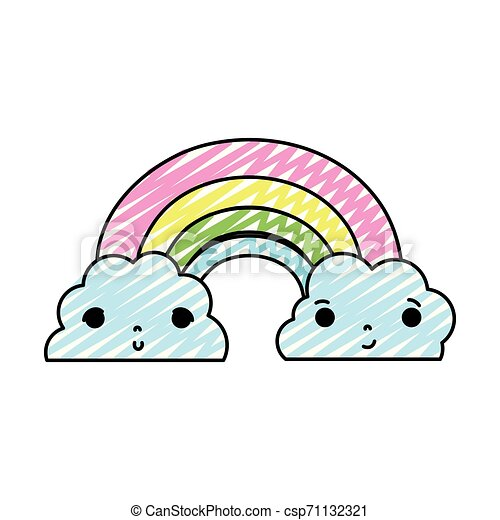 doodle kawaii cute rainbow and clouds weather - csp71132321