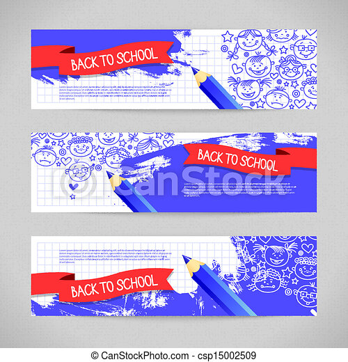 Doodle  kid cartoon banners. Back to school design - csp15002509