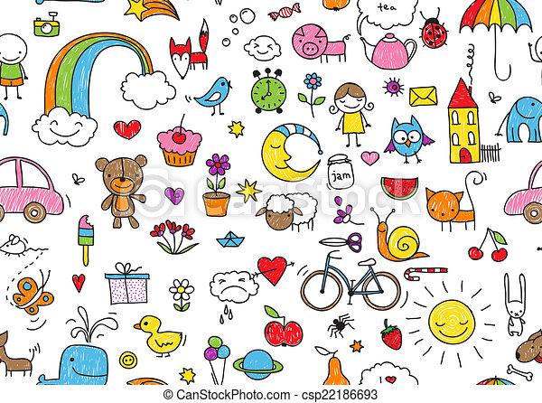 doodle, kinderachtig, seamless - csp22186693