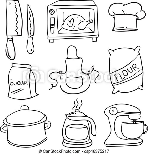 Doodle Kitchen Set Hand Draw Vector Art