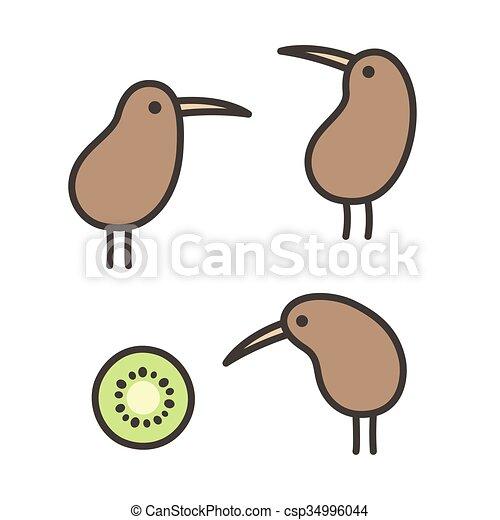 Doodle Kiwi Birds Set