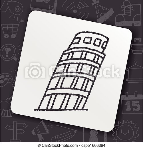 doodle Leaning Tower of Pisa - csp51666894
