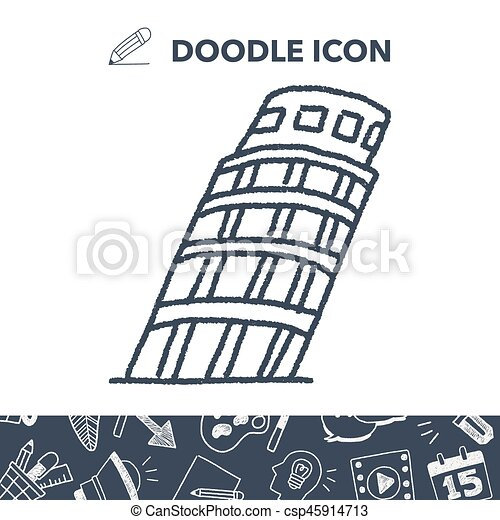 doodle Leaning Tower of Pisa - csp45914713